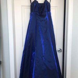 Blue evening gown with halter straps